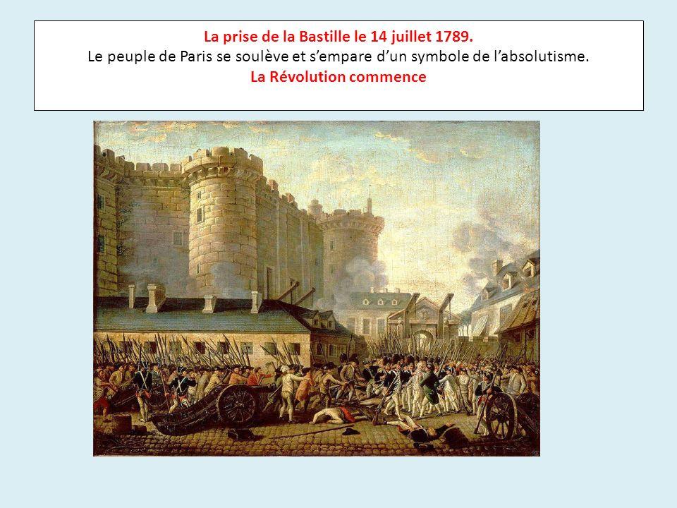 La prise de la Bastille le 14 juillet 1789. Le peuple de Paris se soulève et sempare dun symbole de labsolutisme. La Révolution commence