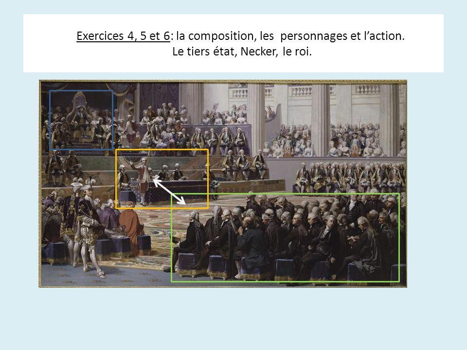 Exercices 4, 5 et 6: la composition, les personnages et laction. Le tiers état, Necker, le roi.