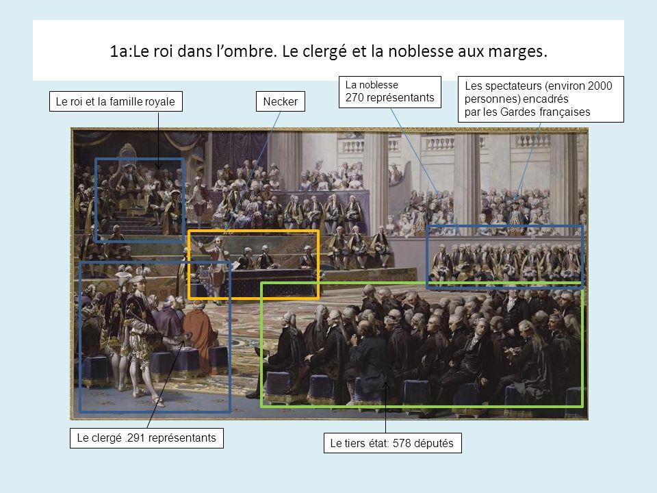 1a:Le roi dans lombre. Le clergé et la noblesse aux marges. Le roi et la famille royaleNecker La noblesse 270 représentants Les spectateurs (environ 2