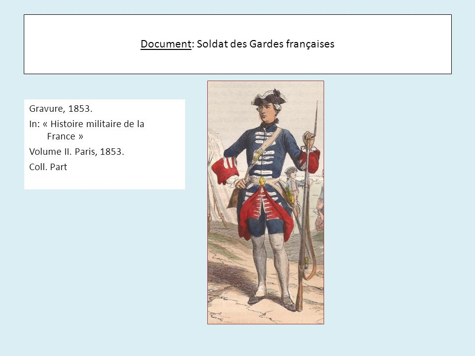 Document: Soldat des Gardes françaises Gravure, 1853. In: « Histoire militaire de la France » Volume II. Paris, 1853. Coll. Part