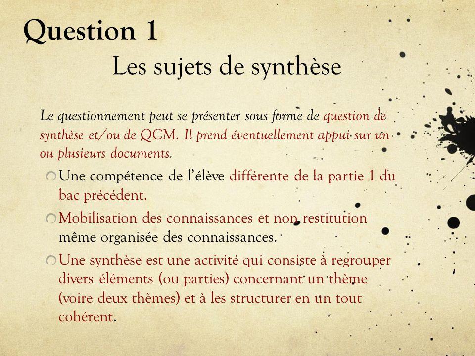 Les sujets de synthèse Le questionnement peut se présenter sous forme de question de synthèse et/ou de QCM.