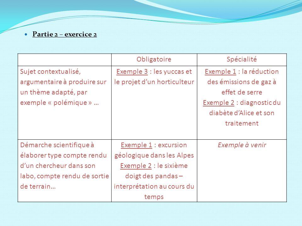 Partie 2 – exercice 2 ObligatoireSpécialité Sujet contextualisé, argumentaire à produire sur un thème adapté, par exemple « polémique » … Exemple 3 :