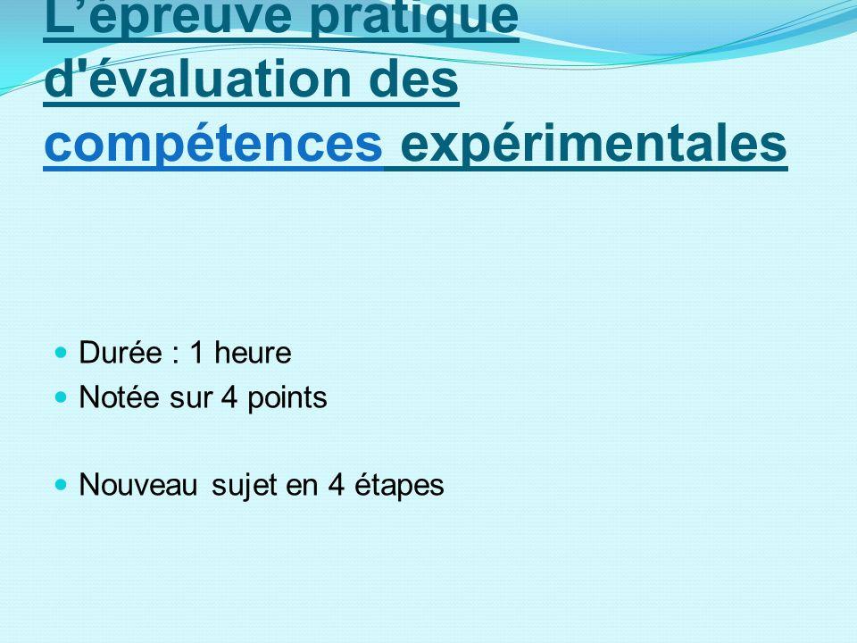 Lépreuve pratique d'évaluation des compétences expérimentales Durée : 1 heure Notée sur 4 points Nouveau sujet en 4 étapes