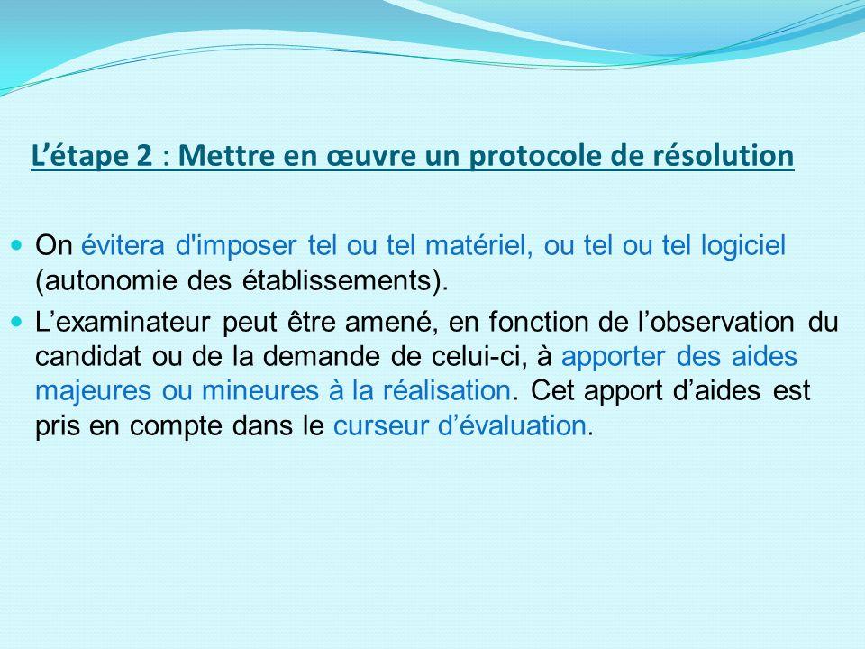 Létape 2 : Mettre en œuvre un protocole de résolution On évitera d'imposer tel ou tel matériel, ou tel ou tel logiciel (autonomie des établissements).
