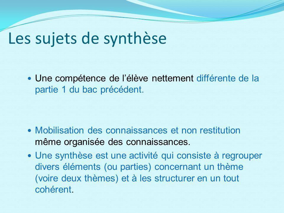 Les sujets de synthèse Une compétence de lélève nettement différente de la partie 1 du bac précédent. Mobilisation des connaissances et non restitutio