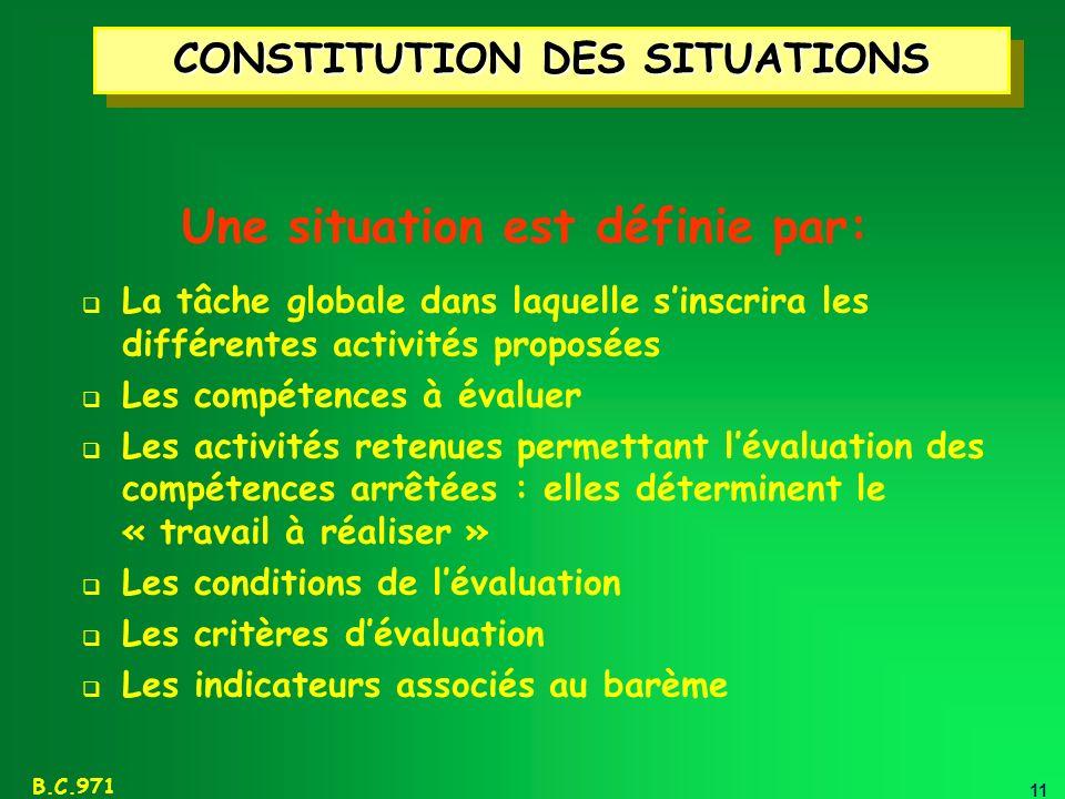 11 B.C.971 CONSTITUTION DES SITUATIONS Une situation est définie par: La tâche globale dans laquelle sinscrira les différentes activités proposées Les
