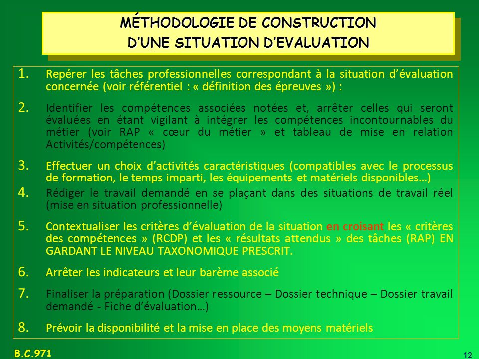 12 B.C.971 MÉTHODOLOGIE DE CONSTRUCTION DUNE SITUATION DEVALUATION MÉTHODOLOGIE DE CONSTRUCTION DUNE SITUATION DEVALUATION 1.