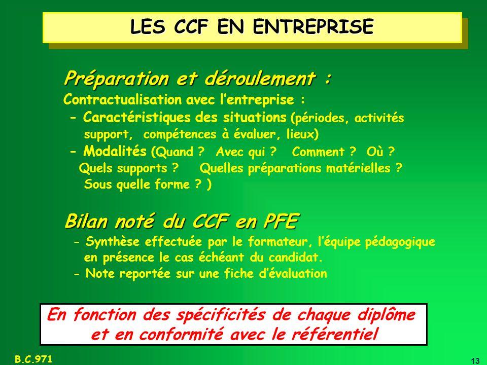 13 B.C.971 LES CCF EN ENTREPRISE Préparation et déroulement : Contractualisation avec lentreprise : - Caractéristiques des situations (périodes, activ