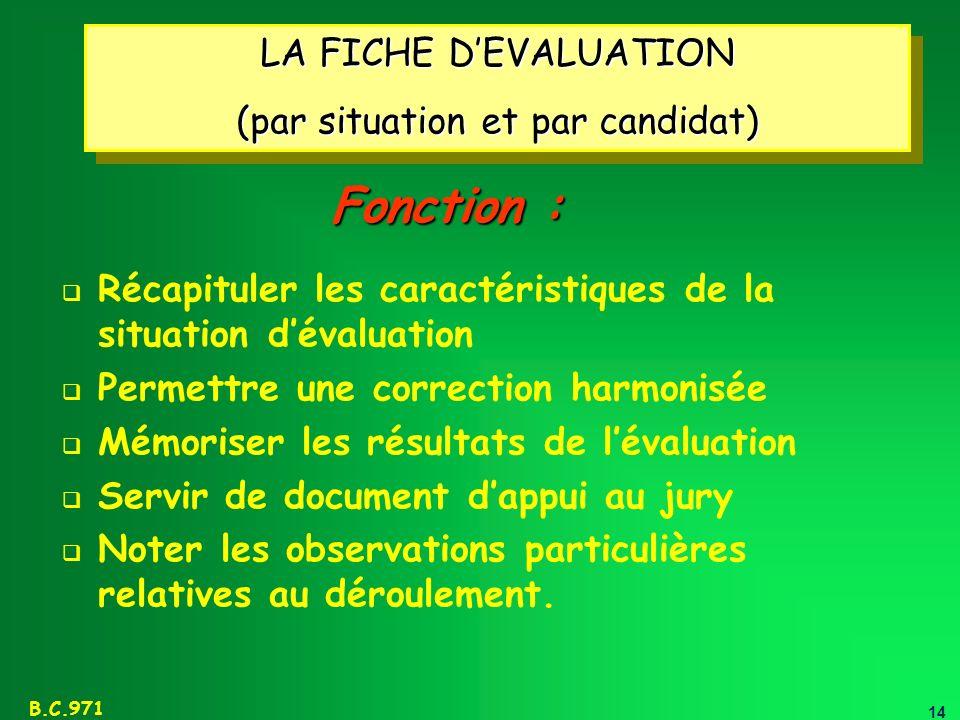 14 B.C.971 LA FICHE DEVALUATION (par situation et par candidat) LA FICHE DEVALUATION (par situation et par candidat) Récapituler les caractéristiques