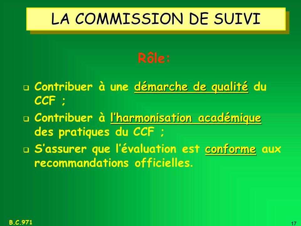 17 B.C.971 LA COMMISSION DE SUIVI démarche de qualité Contribuer à une démarche de qualité du CCF ; lharmonisation académique Contribuer à lharmonisat
