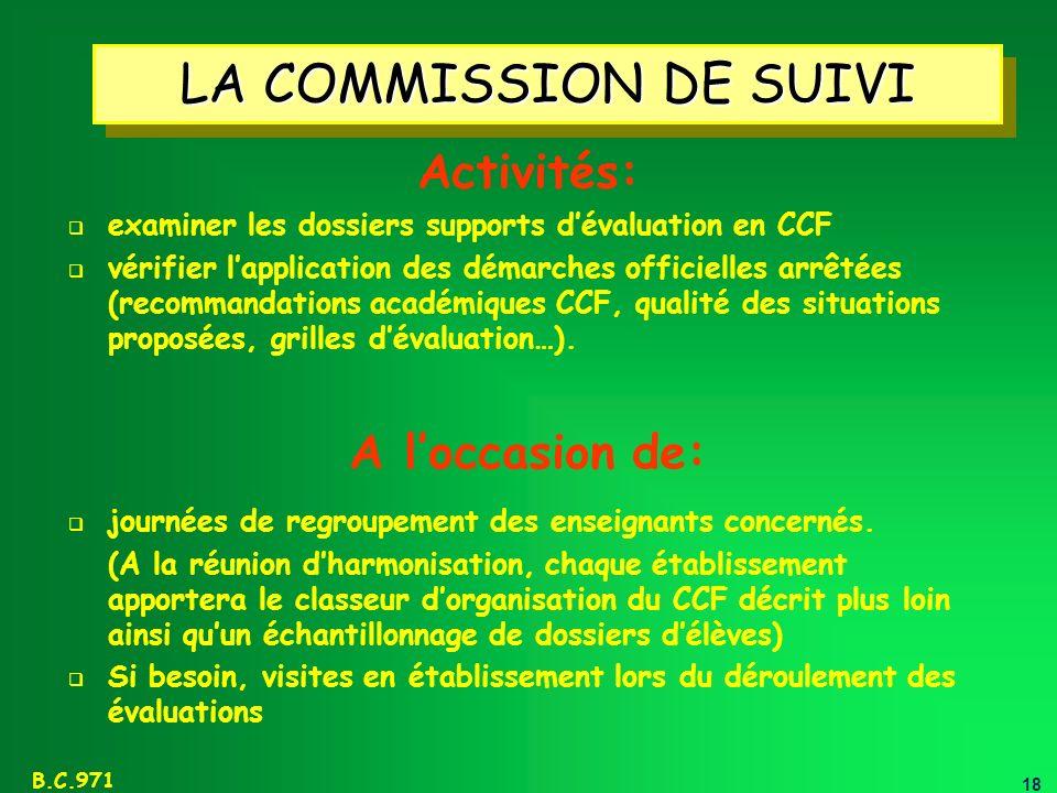 18 B.C.971 LA COMMISSION DE SUIVI examiner les dossiers supports dévaluation en CCF vérifier lapplication des démarches officielles arrêtées (recomman