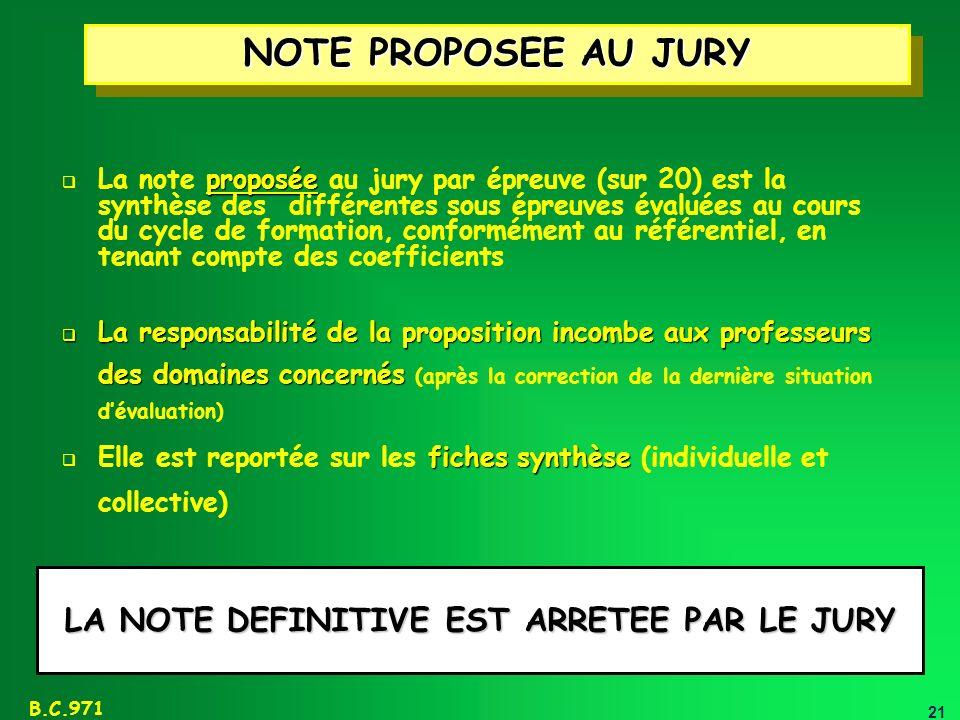 21 B.C.971 NOTE PROPOSEE AU JURY proposée La note proposée au jury par épreuve (sur 20) est la synthèse des différentes sous épreuves évaluées au cour