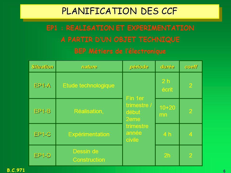 6 B.C.971 PLANIFICATION DES CCF SituationnaturepériodeduréecoeffEP1-AEtude technologique Fin 1er trimestre / début 2eme trimestre année civile 2 h écr