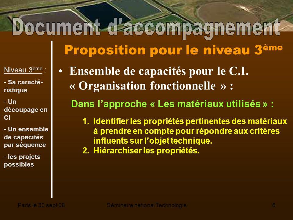Paris le 30 sept 08Séminaire national Technologie6 Proposition pour le niveau 3 ème Ensemble de capacités pour le C.I.