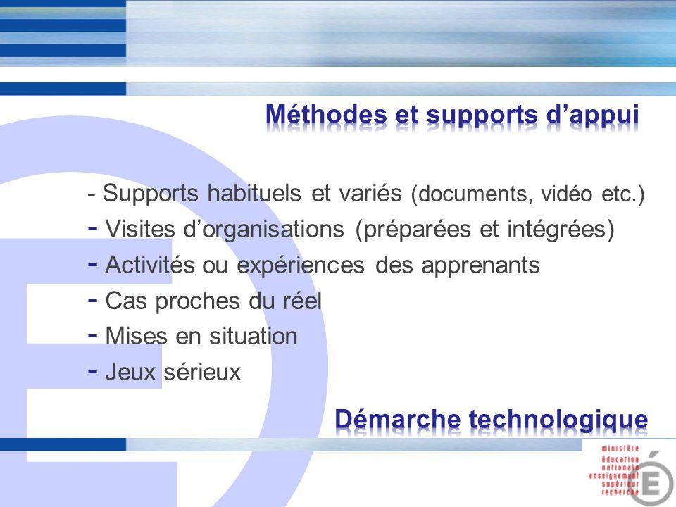 E 10 - Supports habituels et variés (documents, vidéo etc.) - Visites dorganisations (préparées et intégrées) - Activités ou expériences des apprenant