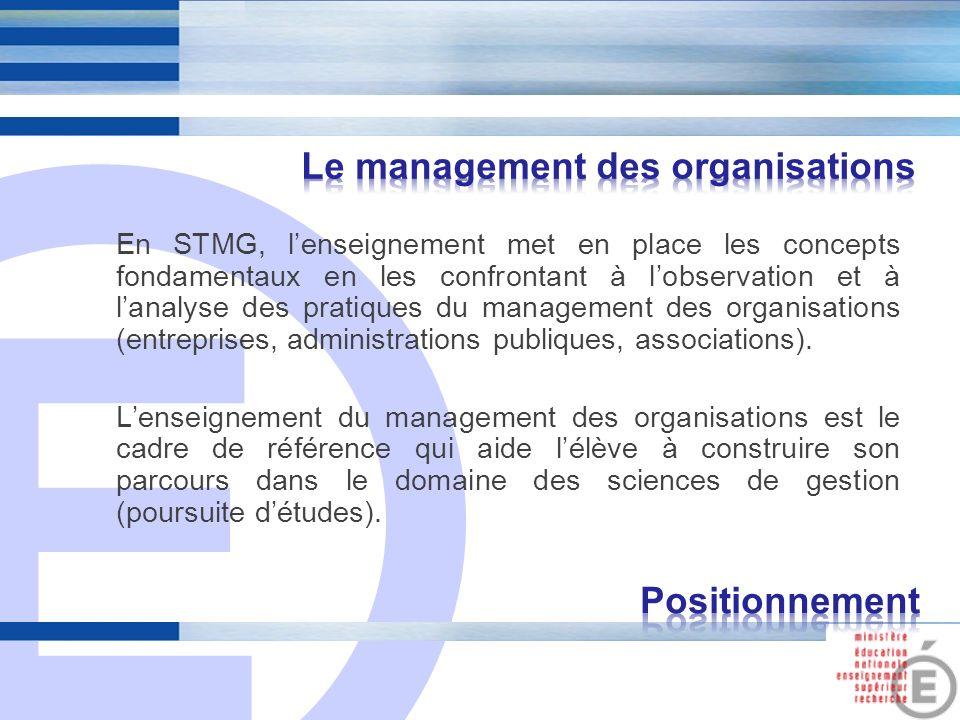 E 4 En STMG, lenseignement met en place les concepts fondamentaux en les confrontant à lobservation et à lanalyse des pratiques du management des orga