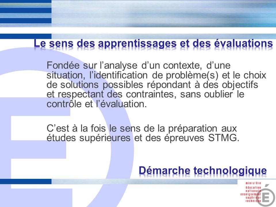 E 8 Fondée sur lanalyse dun contexte, dune situation, lidentification de problème(s) et le choix de solutions possibles répondant à des objectifs et r