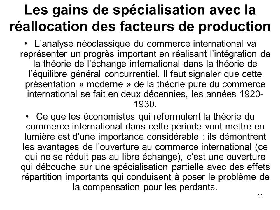 11 Les gains de spécialisation avec la réallocation des facteurs de production Lanalyse néoclassique du commerce international va représenter un progr