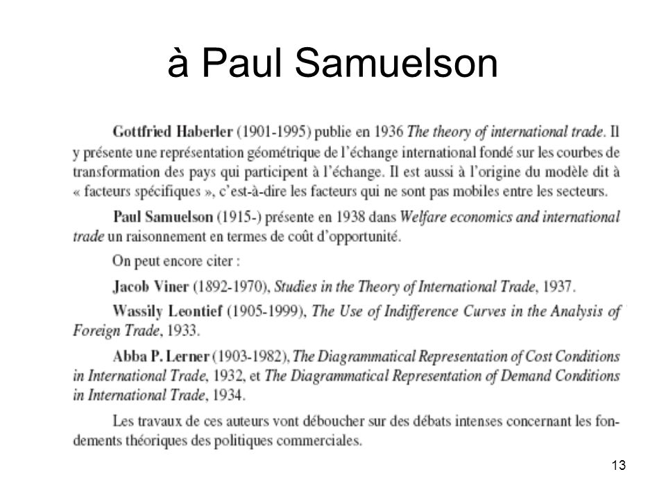 13 à Paul Samuelson