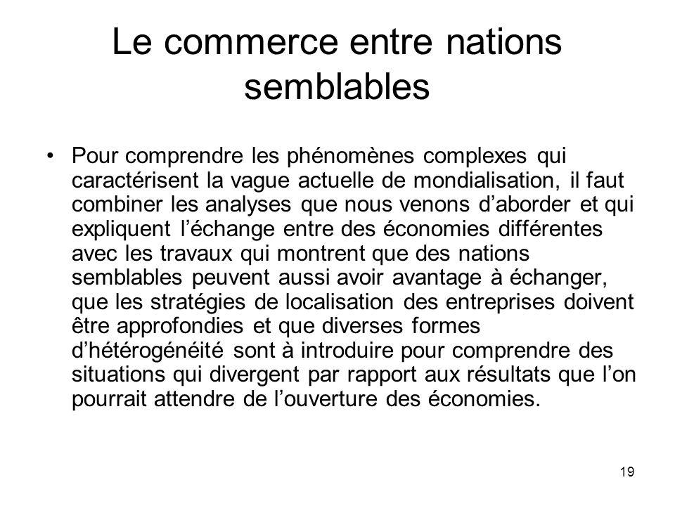 19 Le commerce entre nations semblables Pour comprendre les phénomènes complexes qui caractérisent la vague actuelle de mondialisation, il faut combin