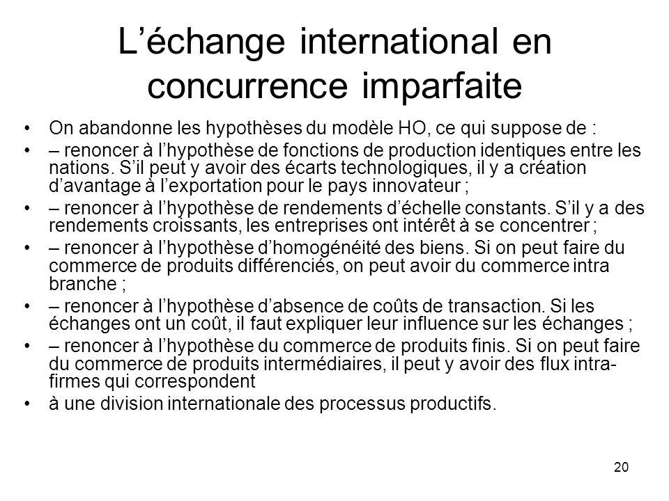 20 Léchange international en concurrence imparfaite On abandonne les hypothèses du modèle HO, ce qui suppose de : – renoncer à lhypothèse de fonctions