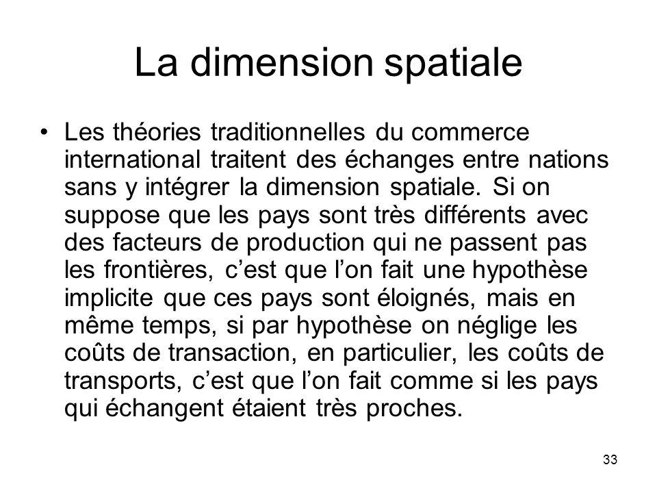 33 La dimension spatiale Les théories traditionnelles du commerce international traitent des échanges entre nations sans y intégrer la dimension spati