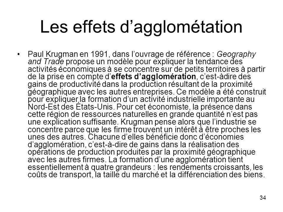 34 Les effets dagglométation Paul Krugman en 1991, dans louvrage de référence : Geography and Trade propose un modèle pour expliquer la tendance des a