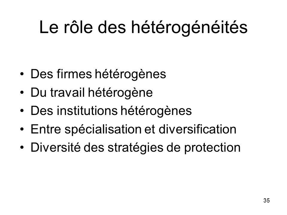 35 Le rôle des hétérogénéités Des firmes hétérogènes Du travail hétérogène Des institutions hétérogènes Entre spécialisation et diversification Divers
