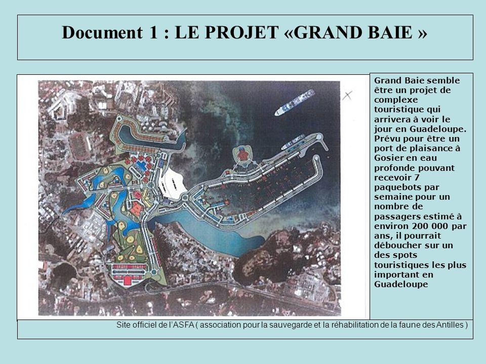 Document 1 : LE PROJET «GRAND BAIE » Grand Baie semble être un projet de complexe touristique qui arrivera à voir le jour en Guadeloupe. Prévu pour êt
