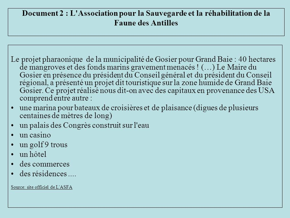 Le projet pharaonique de la municipalité de Gosier pour Grand Baie : 40 hectares de mangroves et des fonds marins gravement menacés ! (…) Le Maire du