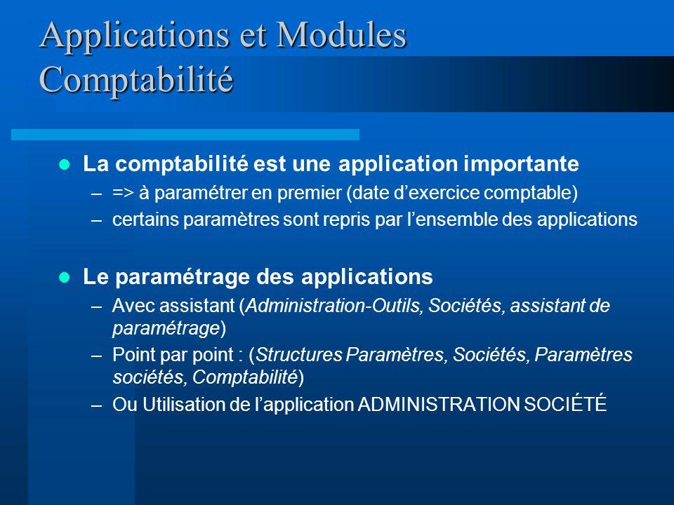 Applications et Modules Comptabilité La comptabilité est une application importante –=> à paramétrer en premier (date dexercice comptable) –certains p