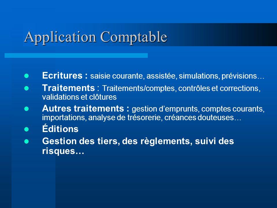 Application Comptable Ecritures : saisie courante, assistée, simulations, prévisions… Traitements : Traitements/comptes, contrôles et corrections, val