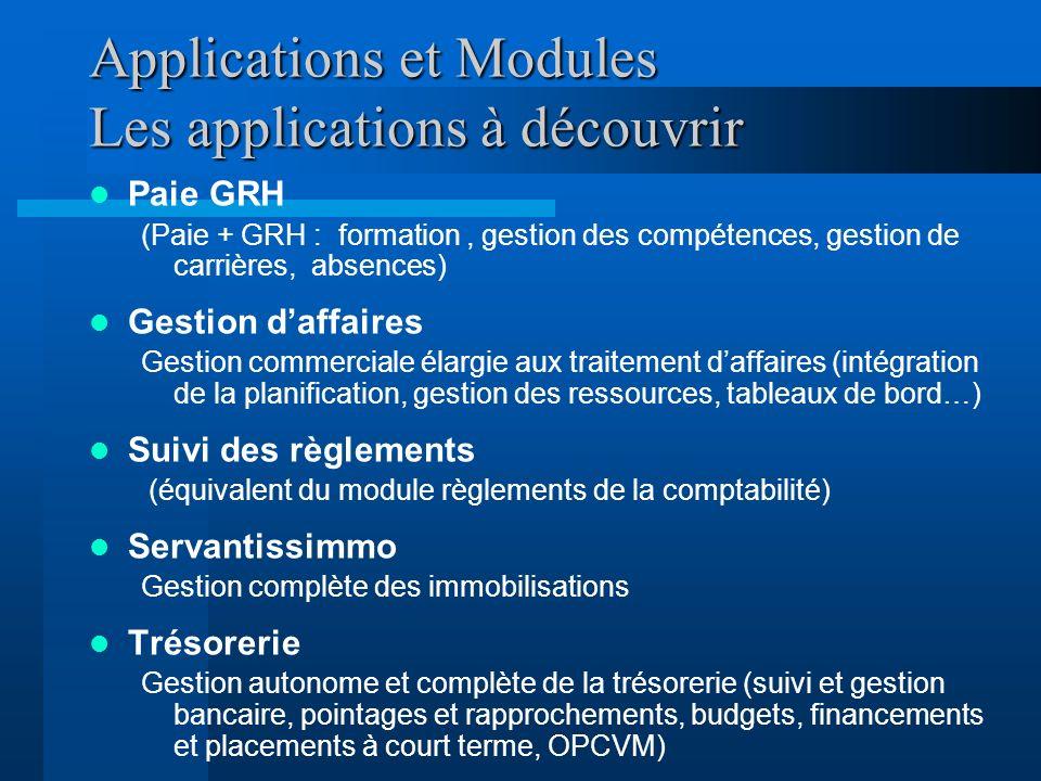 Applications et Modules Les applications à découvrir Paie GRH (Paie + GRH : formation, gestion des compétences, gestion de carrières, absences) Gestio