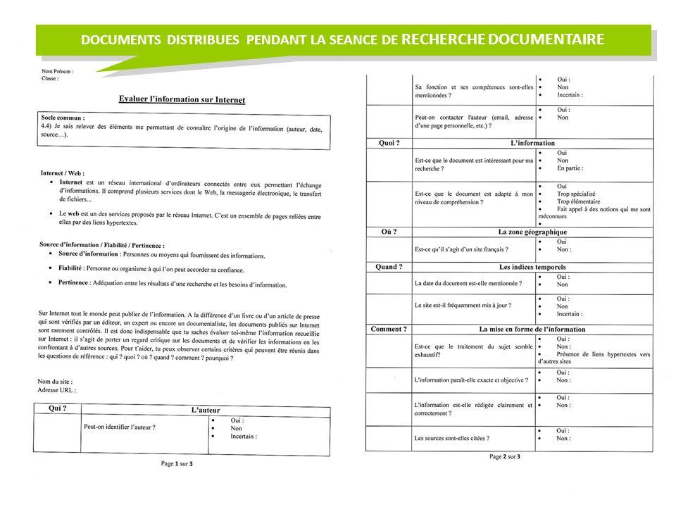 DOCUMENTS DISTRIBUES PENDANT LA SEANCE DE RECHERCHE DOCUMENTAIRE