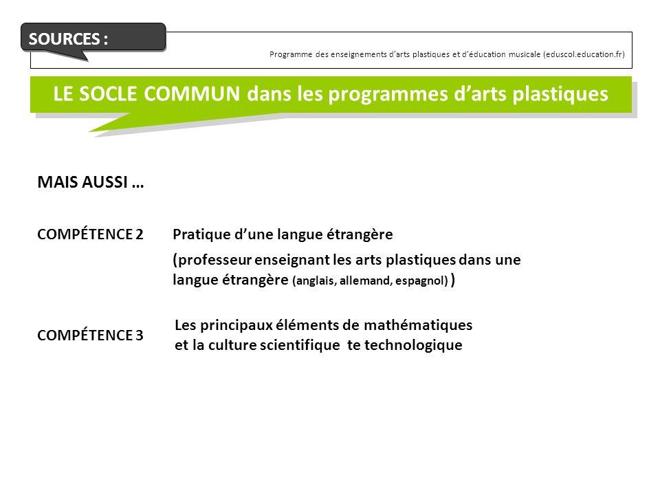 Programme des enseignements darts plastiques et déducation musicale (eduscol.education.fr) SOURCES : LE SOCLE COMMUN dans les programmes darts plastiq