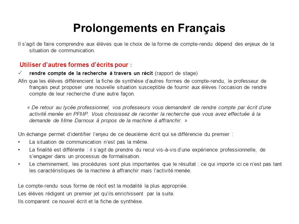 Prolongements en Français Il sagit de faire comprendre aux élèves que le choix de la forme de compte-rendu dépend des enjeux de la situation de commun