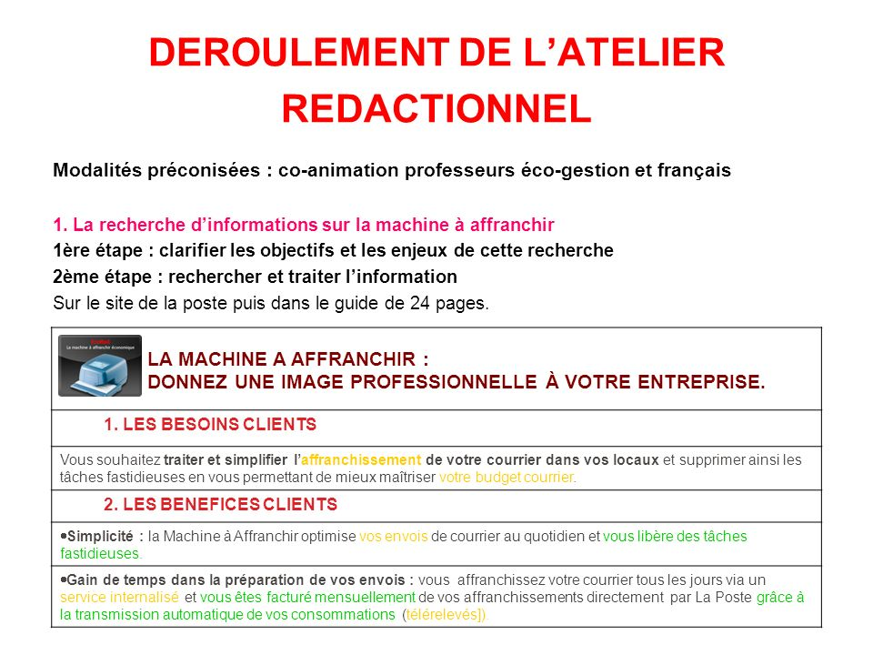 DEROULEMENT DE LATELIER REDACTIONNEL Modalités préconisées : co-animation professeurs éco-gestion et français 1. La recherche dinformations sur la mac