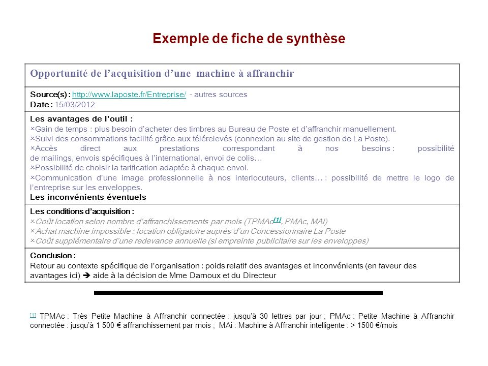 Opportunité de lacquisition dune machine à affranchir Source(s) : http://www.laposte.fr/Entreprise/ - autres sourceshttp://www.laposte.fr/Entreprise/