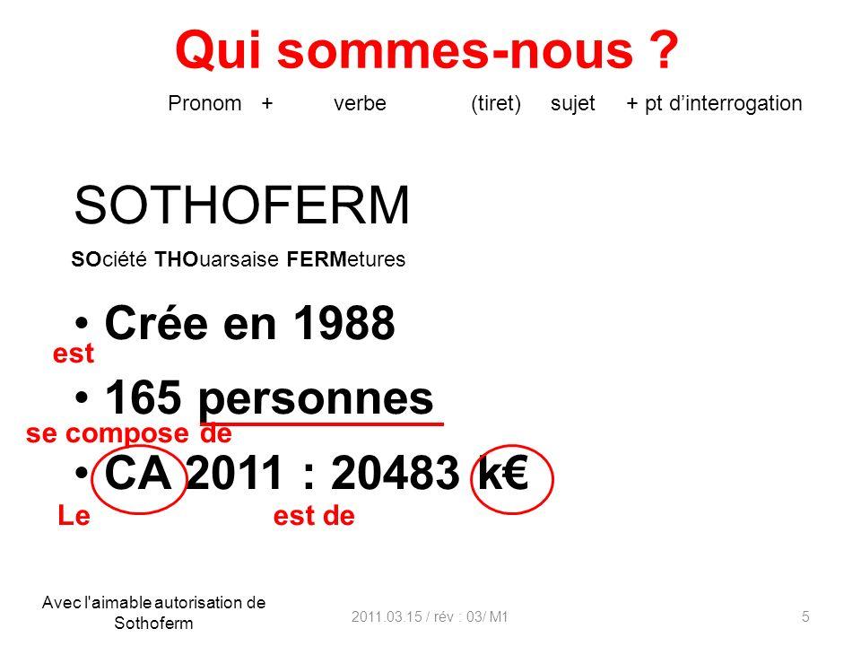 Qui sommes-nous ? 2011.03.15 / rév : 03/ M15 SOTHOFERM Crée en 1988 165 personnes CA 2011 : 20483 k Pronom + verbe (tiret) sujet + pt dinterrogation e