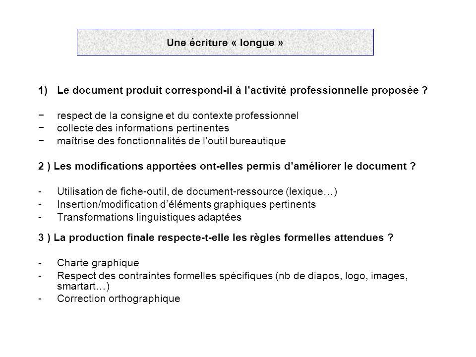Une écriture « longue » 1)Le document produit correspond-il à lactivité professionnelle proposée ? respect de la consigne et du contexte professionnel