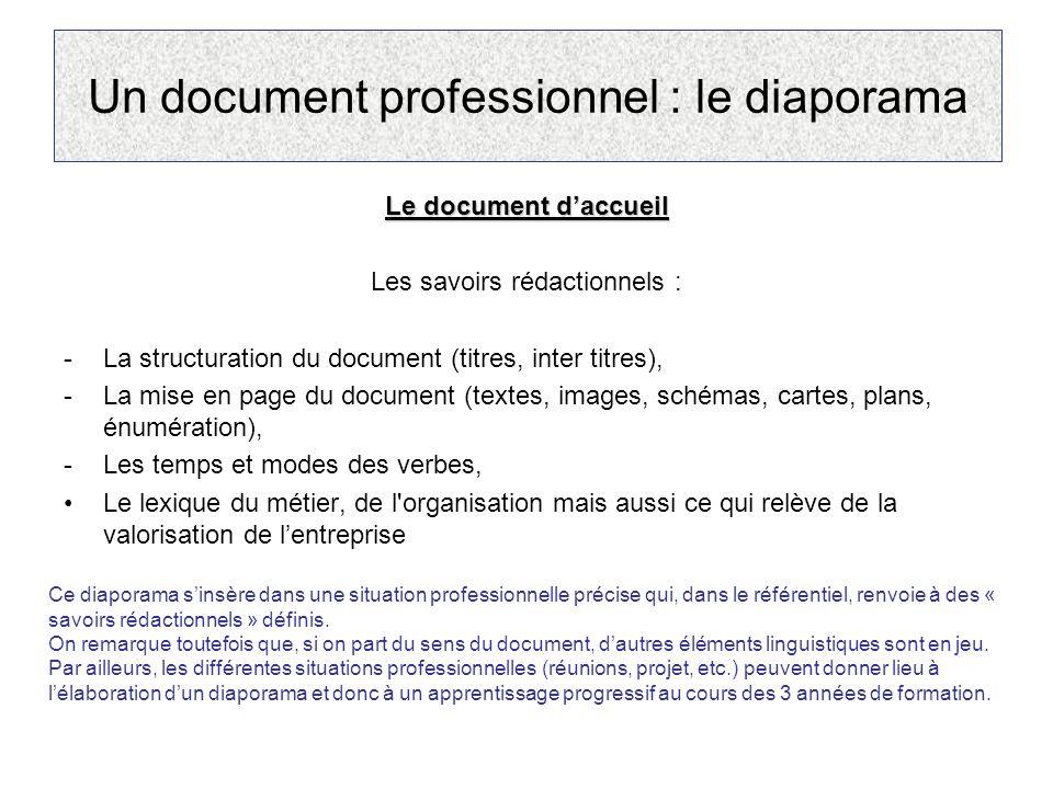 Un document professionnel : le diaporama Le document daccueil Les savoirs rédactionnels : -La structuration du document (titres, inter titres), -La mi