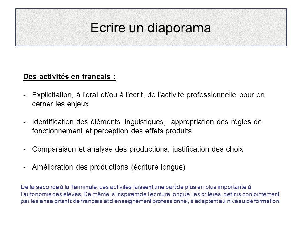 Ecrire un diaporama Des activités en français : -Explicitation, à loral et/ou à lécrit, de lactivité professionnelle pour en cerner les enjeux -Identi