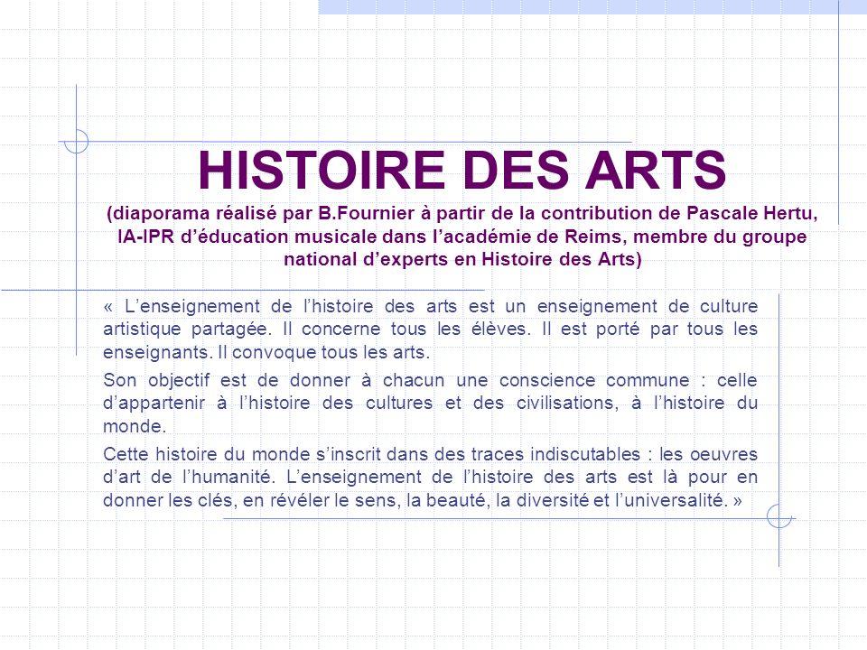HISTOIRE DES ARTS (diaporama réalisé par B.Fournier à partir de la contribution de Pascale Hertu, IA-IPR déducation musicale dans lacadémie de Reims,