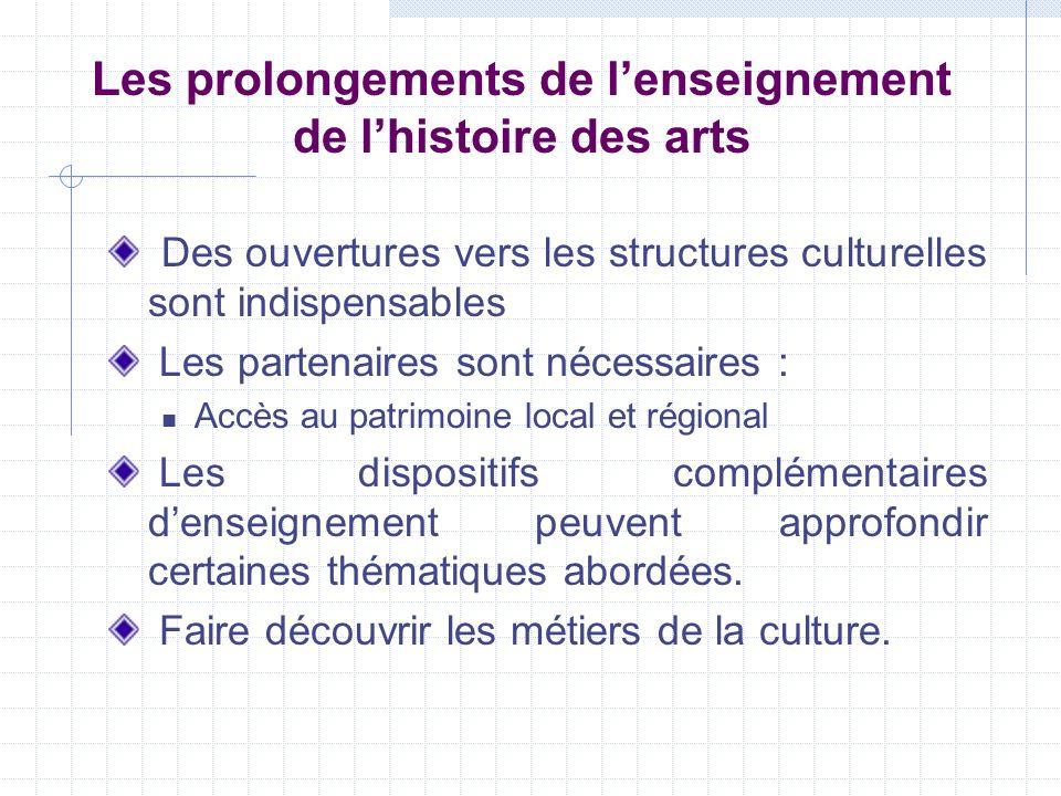 Les prolongements de lenseignement de lhistoire des arts Des ouvertures vers les structures culturelles sont indispensables Les partenaires sont néces