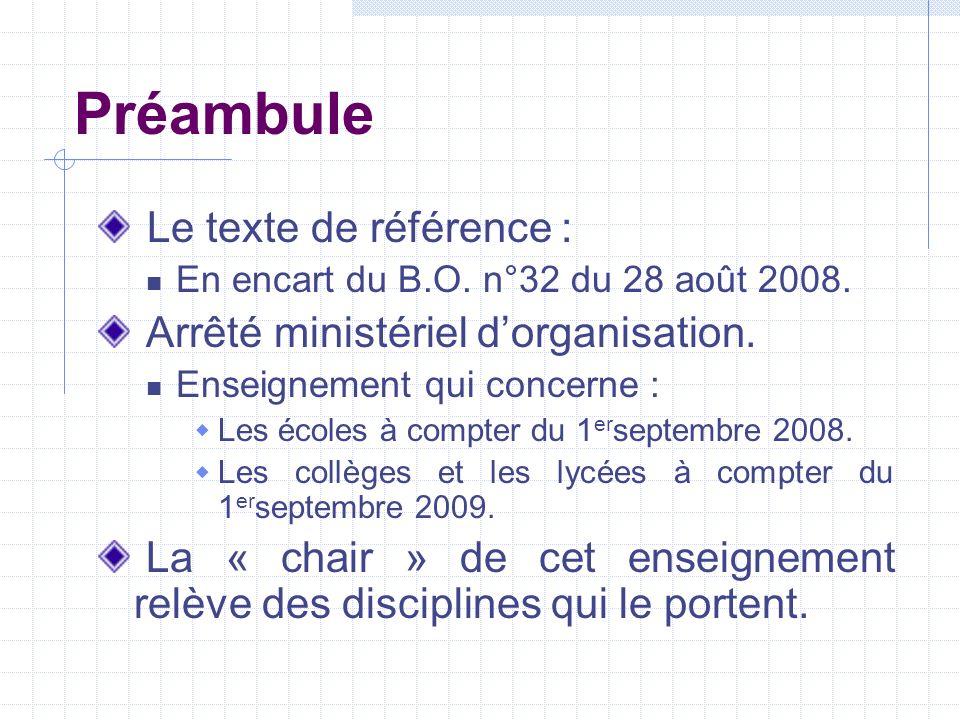 Préambule Le texte de référence : En encart du B.O. n°32 du 28 août 2008. Arrêté ministériel dorganisation. Enseignement qui concerne : Les écoles à c
