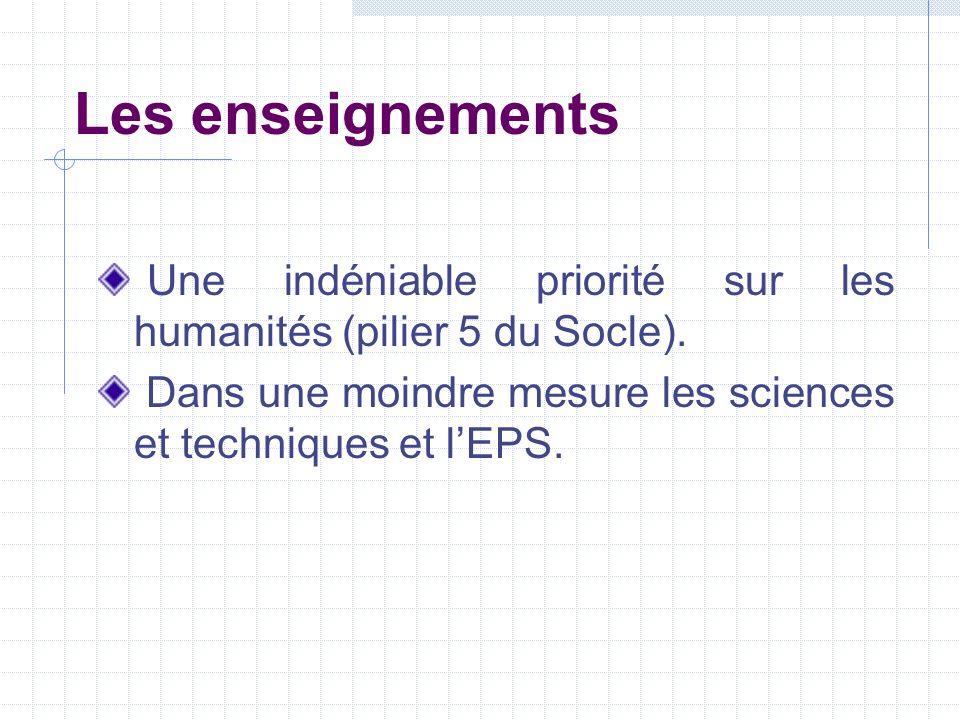 Les enseignements Une indéniable priorité sur les humanités (pilier 5 du Socle). Dans une moindre mesure les sciences et techniques et lEPS.