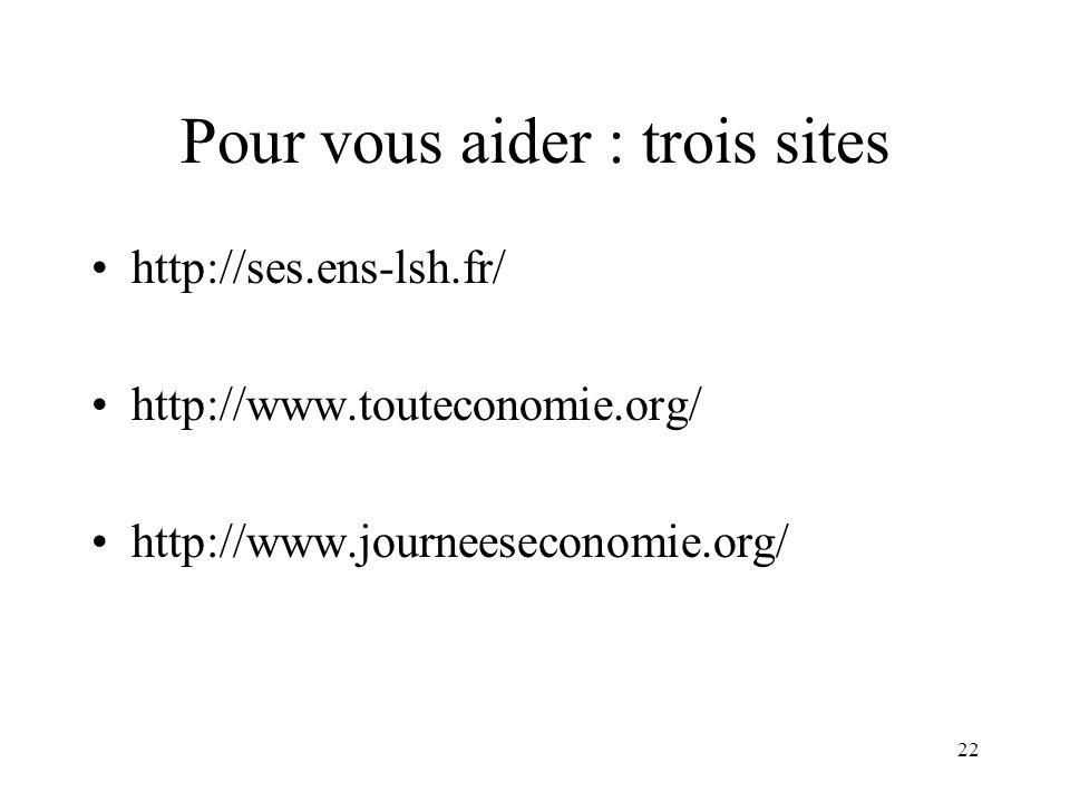 22 Pour vous aider : trois sites http://ses.ens-lsh.fr/ http://www.touteconomie.org/ http://www.journeeseconomie.org/