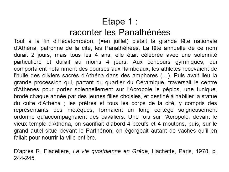 Etape 1 : raconter les Panathénées Tout à la fin dHécatombéon, (=en juillet) cétait la grande fête nationale dAthéna, patronne de la cité, les Panathé