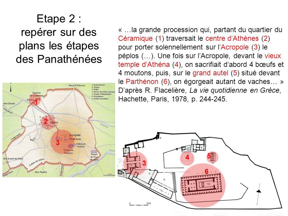Etape 2 : repérer sur des plans les étapes des Panathénées « …la grande procession qui, partant du quartier du Céramique (1) traversait le centre dAthènes (2) pour porter solennellement sur lAcropole (3) le péplos (…).