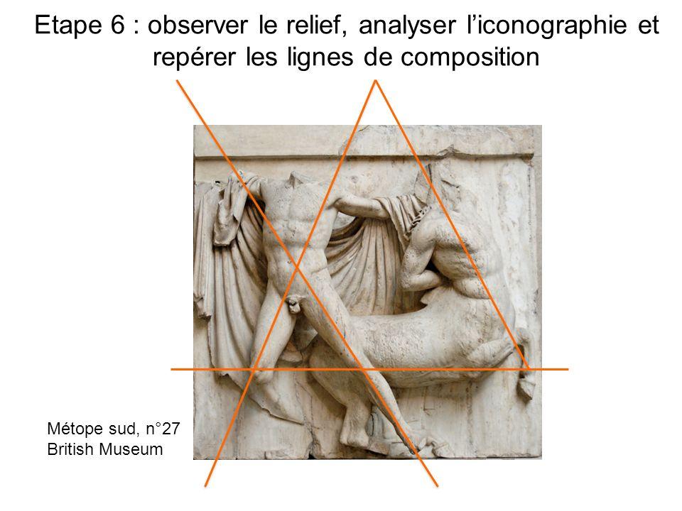 Etape 6 : observer le relief, analyser liconographie et repérer les lignes de composition Métope sud, n°27 British Museum